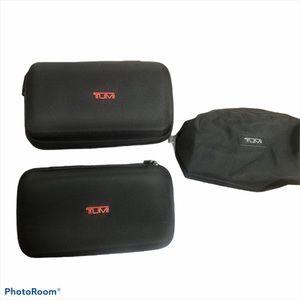 Tumi Black Travel Luggage Case Hard Soft Case Set